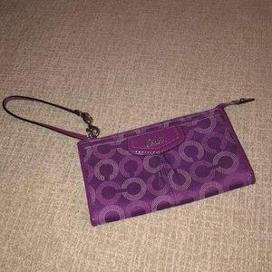 Coach Wallet Wristlet Purple & Sliver